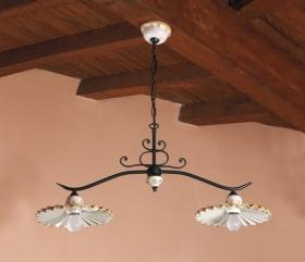Lampade rustiche in ceramica e ferro battuto illuminazione per arredamento interni, artigianali ...